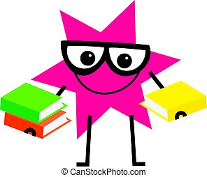 clever star - funny cartoon star shape wearing spectacles ...