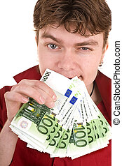 Clever strong man with money. Isolated.
