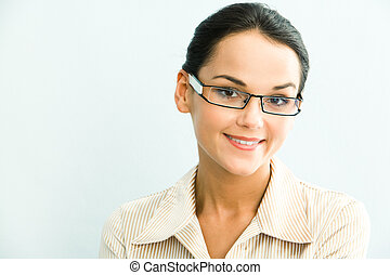 Clever woman - View of clever business woman on a blue...