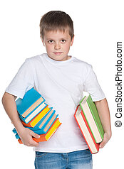 Clever young boy with books