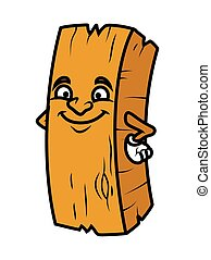 Cleverly Smiling Cartoon Wood Log