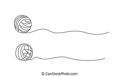 Clew ball of thread. Continuous one line drawing vector...