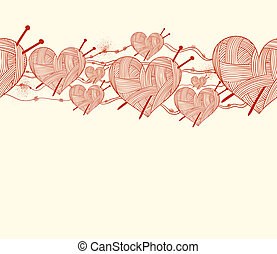 clew heart with knitting needle seamless pattern