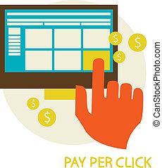 clic, ilustración, paga, concepto, por