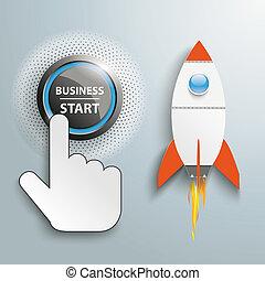 clic, mano, pulsador, empresa / negocio, comienzo, cohete
