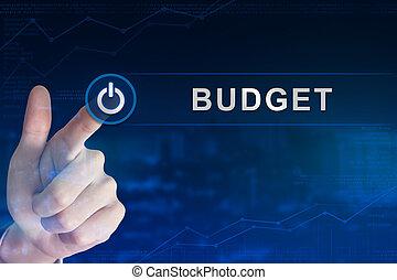 clicando, botão, orçamento, negócio, mão