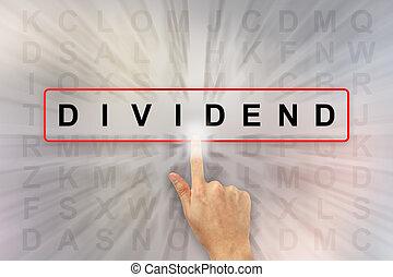 clicando, dividendo, palavra, mão