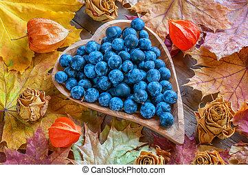cliché bleu, heart., bois, automne, forme, fond, épines, récolte