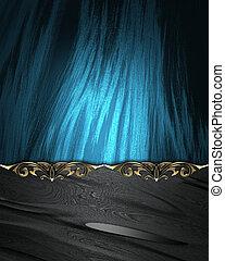 cliché bleu, nom, or, bords, arrière-plan noir, orné