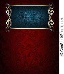 cliché bleu, nom, or, bords, fond, orné, rouges