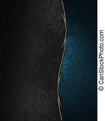 cliché bleu, or, bords, arrière-plan., noir, orné