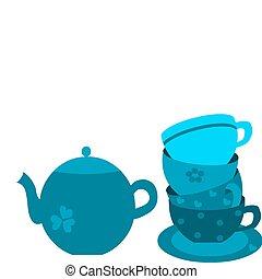 cliché bleu, pot thé, quatre, tasses
