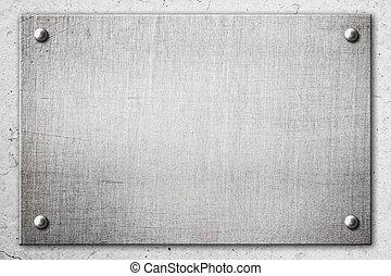 cliché métal, sur, mur