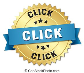 click 3d gold badge with blue ribbon