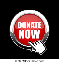 Click and donate now glass web button