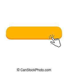Click blank button with hand pointer clicking icon. Vector