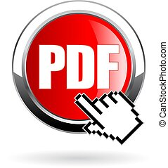 Click button to download pdf file format, vector icon