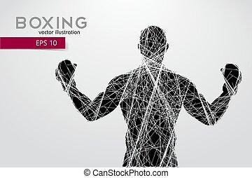 click., czuć się, boks, oddzielny, kolor, tekst, changed, ilustracja, silhouette., wektor, może, tło, jeden, boxing., instalator