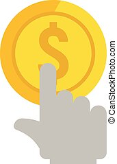 Click gold coin icon, flat style