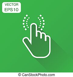 Click hand icon. Business concept cursor finger pictogram. Vector illustration on green background with long shadow.