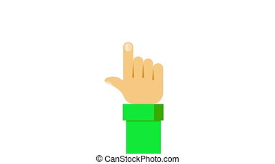 Click hand in flat style video. Push touch screen. Hand cursor icon. Finger click icon.