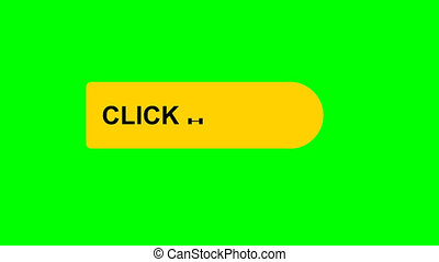 click here animation icon clicking button video on green background. video footage, 4K