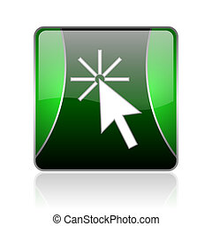 click here black and green square web glossy icon