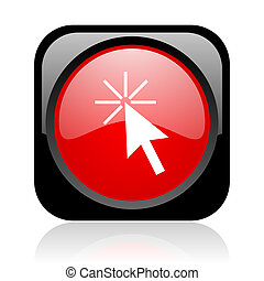 click here black and red square web glossy icon