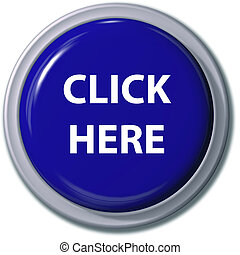 A big bright blue CLICK HERE push button icon for internet website with drop shadow