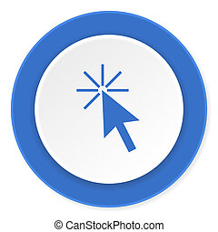 click here blue circle 3d modern design flat icon on white background