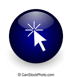Click here blue glossy ball web icon on white background. Round 3d render button.