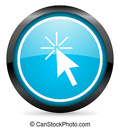 click here blue glossy circle icon on white background