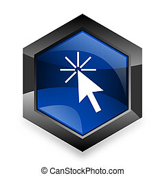 click here blue hexagon 3d modern design icon on white background
