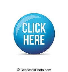 Click Here button vector blue