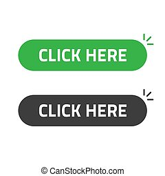 Click here button vector flat cartoon rounded isolated green black color