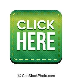 Click Here button vector green