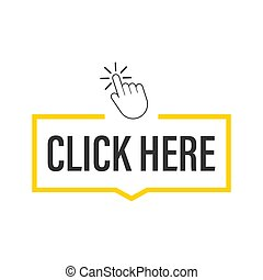 Click here button with hand pointer clicking. Vector stock illustration.