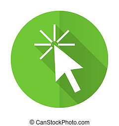 click here green flat icon