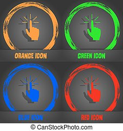 Click here hand icon sign. Fashionable modern style. In the orange, green, blue, red design. Vector