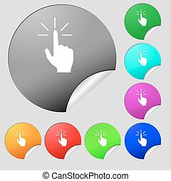 Click here hand icon sign. Set of eight multi colored round buttons, stickers. Vector