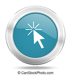 click here icon, blue round glossy metallic button, web and mobile app design illustration