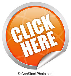 Click here icon isolated over white
