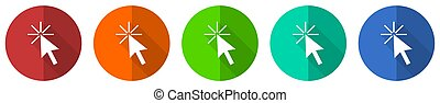 Click here icon set, red, blue, green and orange flat design web buttons isolated on white background, vector illustration