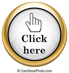 Click here icon - Shiny glossy icon with black design on ...