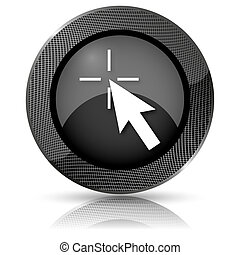 Click here icon - Shiny glossy icon with white design on ...