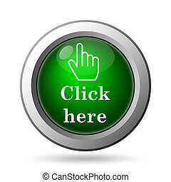 Click here icon. Internet button on white background