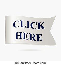 Click here label, silver ribbon badge