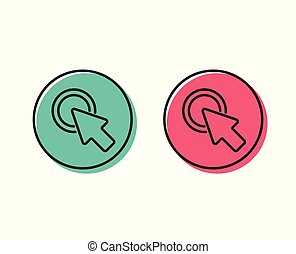 Click here line icon. Push the button sign. Vector