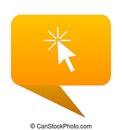 Click here orange bulb web icon isolated.