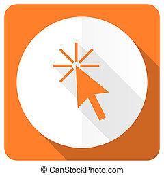 click here orange flat icon